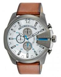 Diesel, Men's DZ4280 Mega Chief Gunmetal Brown Leather Watch