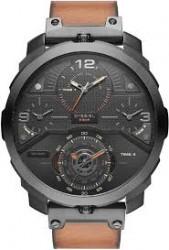 Diesel Machinus Chronograph Four Time Zone Dial Brown Leather Men's Watch DZ7359